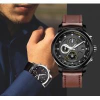 China CADISEN Fashion Men Leather Band Leisure Chronograph Waterproof 30m Multifunction Quartz Wrist Watches  C9052 wholesale
