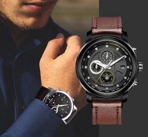 Quality CADISEN Fashion Men Leather Band Leisure Chronograph Waterproof 30m Multifunctio for sale