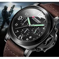 China LONGBO Chronometer Multifunction Three Dial Genuine Leather 5ATM Waterproof  Military Sport Watches 80180 wholesale