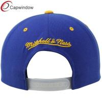 Quality Blue Acrylic Flat Brimmed Baseball Caps , Snapback Hat with Adjustable Plastic Closure for sale