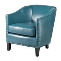 Faux Leather Oversized Living Room ChairWith Single Row Nail Head Trim