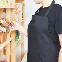 China Adult Black Cotton Blend Apron with Adjustable Neck Strap Kitchen Aprons wholesale