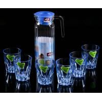 China High Borosilicate Glass Water Pot , Glass Juice Pitcher With Lid 1100 ML wholesale