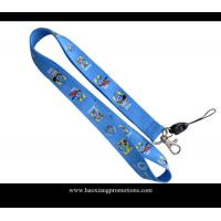 China Full blue colors heat transfer printed lanyard for sale, custom sublimation lanyards wholesale
