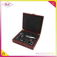 China Luxury red wood corkscrew packaging box mdf wine opener box wholesale