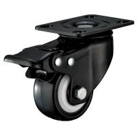 Small Furniture PU Caster Wheel With Swivel Plate Total Locking Black Bracket for sale