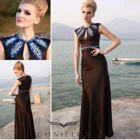 China modest black dinner gowns,  embroidered pattern evening dinner gowns wholesale