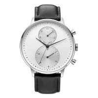 China CD Grain Face Quartz Silver Stainless Steel Watch Sr626sw With Black Leather Strap wholesale
