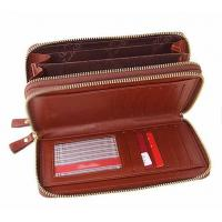 China Custom  2 main zipper compartments leather clutch bag,Leather Briefcases   wholesale