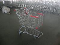 Quality PU Wheel Supermarket Shopping Carts with Bottom Rack , funky shopping trolley for sale