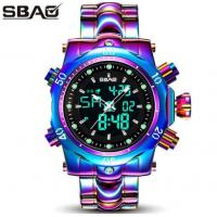 China Sbao 55 mm Big Dial Men Dual Time Full Steel Chronograph Alarm Fashion Wrist Watch S-9001 wholesale