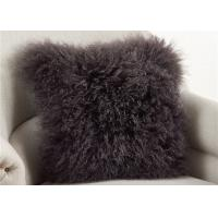 China Dark Gray Fuzzy Throw Pillows , Soft Curly Hair Wool Decorative Bed Pillows  on sale