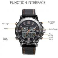 Quality Smael Men Multifunction Dual Time Travel Alloy Pu Strap Chronograph Waterproof 50m Wrist Watches 1281 for sale