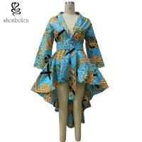 China High Low Hem Wrap African Inspired Dresses Clothing With Belt , African Print Wedding Dresses wholesale