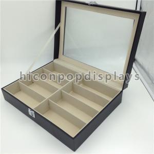 8 Pairs Wood Eyeglass Display Case Portable Lockable Eyewear Store Storage Case