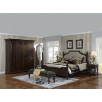 China Sandalwood Bedroom set Classic style BT-2902 High fabric Upholstered headboard Wooden king size bed with Cloth Wardrobe wholesale