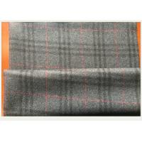 China Gray Tartan Fabric 50 Wool 50 Polyester , Black And Red Plaid Fabric 750 G / M on sale