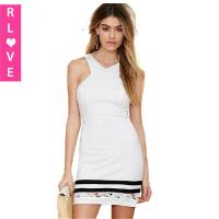 China 2015 new style female hollow lace dress solid black and white stripes dresses wholesale