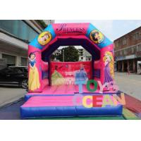 China Pink Princess Theme Inflatable Jumping House , 0.55mm PVC Inflatable Bouncy Castles For Girls wholesale