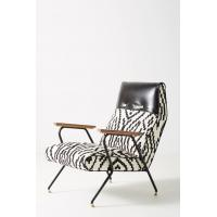 China Maura Printed Quentin Fiberglass Lounge Chair With Leather Headrest wholesale