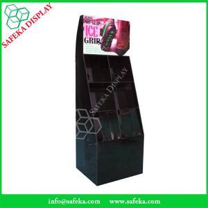China Customized  printed Promotion Rack advertising shelf Cardboard shoe store display racks with pockets wholesale