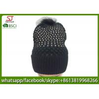 China Chinese manufactuer free faux fur pompom knitting stripe hat  cap  patterns beanie 75g 18*24cm 100%Acrylic keep warm on sale