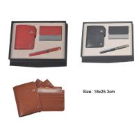 China 3 in 1 leather business gift set with leather name card pouch, name card holder and pen wholesale