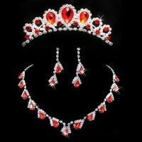 China Heart Shaped Jewelry Necklace Earrings Crown Bride Accessories , Red wholesale