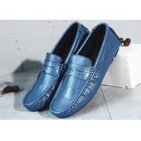 China Flat Heel Mens Navy Blue Leather Loafers , Mens Casual Penny Loafers Driving Shoes wholesale