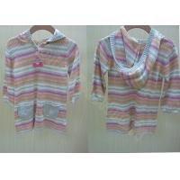 China Cotton Stripes Long Kids Holiday Sweater with Hood / Pockets for Children wholesale