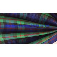 China Green Blue Plaid Yarn Dyed Uniform Fabric Stretch Polyester Twill / Drill for Men's Lady's wholesale