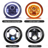 China High Lumen Round Jeep Wrangler Headlights With Halo Ring Angel Eyes wholesale