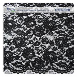 China Edge Nylon Viscose Cord Lace Fabric , Black Floral Scalloped Lace Fabric wholesale