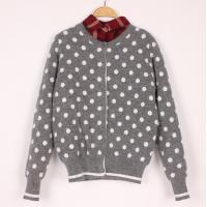 China Simple Wool Sweaters Dots Jacquard Causel Cardigan Knitwear Girls Outwear Top wholesale