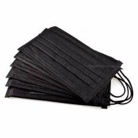 China Black Color 3 Ply Non Woven Face Mask Lint Free High Filtration Efficiency wholesale