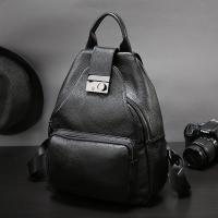 China Black leather custom backpack with logo top quality handmade leather bag factory backpack women wholesale