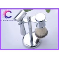 Set - Safety Shaving Brush Set Stand & Synthetic Brush Included Deluxe Chrome