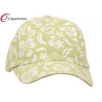 China Lime Cotton Cap New Hawaiian Floral Pattern / customized baseball cap with Velcro Closure wholesale