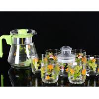China 860ml Glass Water Kettle Glass Teapot Set Of 6 PP Handle None Sleeve wholesale