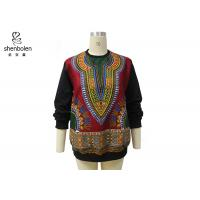 China Pink Color Round Neck African Print Tops Long Sleeve For Spring / Autumn wholesale