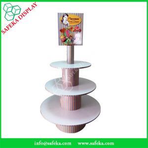 China POS paper material paperboard shelf printed  three tiers cupcake display racks wholesale