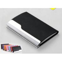 China PU Leather Cover On Metal Frame Business Card Holder With Classic Design wholesale