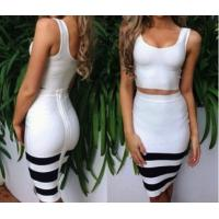 China 2014 new white and black striped 2 piece bandage dress,knee-length bodycon party dress wholesale