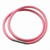 Buy cheap Necklaces, Silicone Material, Measures 48, 50 and 55cm, 500-piece MOQ, with from wholesalers