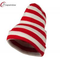 China Acrylic Beanie Winter Hats , Red White Wide Stripe Cuff Knitted Hat wholesale