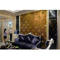 Quality Gold Plastic Stained Etched Decorative Glass Panels Abrasion Resistance for sale