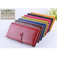 China Men Oil Wax Leather Clutch Wallet Three Fold Long Type With Card ID Holder wholesale