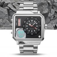 China Boamigo New Men Square Dual Time Stainless Steel Band Waterproof 30m Chronograph Military Watches  F930 wholesale