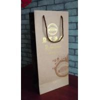 Wholesale custom luxury wine paper bag packaging with glossy metalic gold logo from china suppliers