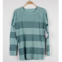 China Striped Womens Pullover Sweaters Blue Colors Cotton / Wool Custom Knit wholesale